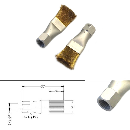 (Chain-)Lubrication brush - thread: 1/8 NPT - small - brass bristles