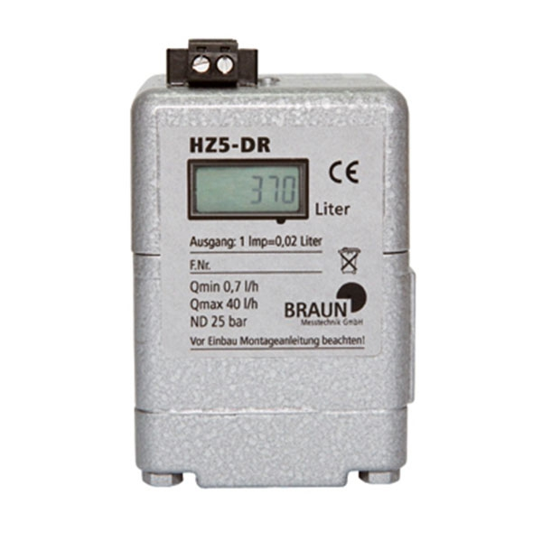 Minimum meter HZ 5DR - from 0,7 l/h - LCD-display and impulse generator