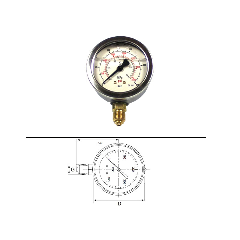 SKF Manometer, glycerin filled
