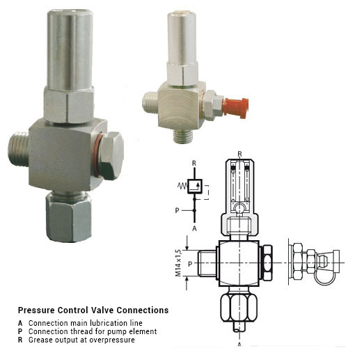 SKF Pressure control valve PCV for progressive pump with Ø 6, 8, 10 mm