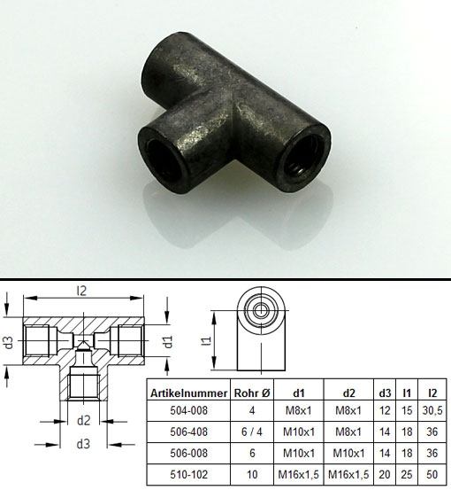 SKF - T-connector for Ø 4, 6, 8 and 10 mm